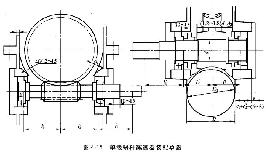 蜗杆和蜗轮的轴线空间交错,不可能在一个视图上画出蜗杆和蜗轮轴的结构。画装配草图时需主视图和左视图同时绘制。在绘图之前,应仔细阅读本章第4.1-4.3节中的相关内容。蜗杆减速器箱体的结构尺寸可参看图1-3,利用表4-1的经验公式确定。设计蜗杆一齿轮或两级蜗杆减速器时,应取低速级中心距计算有关尺寸。现以单级蜗杆减速器为例说明其绘图步骤。 传动零件位置及轮廓的确定 如图4-15所示,在各视图上定出蜗杆和蜗轮的中心线位置,蜗杆的节圆、、齿根圆、长度,蜗轮的节圆、外圆、蜗轮的轮廓,以及蜗杆轴的结构。 蜗杆轴轴承座位